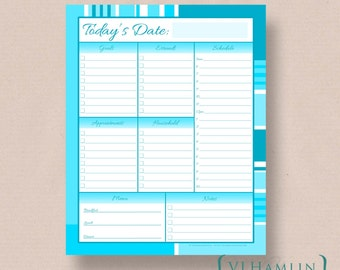 Blue Stripes, Printable Daily Planner, Schedule Organizer, Instant Download