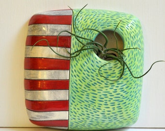 Ready to Ship- Ceramic/ Pottery Wall Planter/ Wall Pocket/ Vase -- Carved Design with Black Stain and Red , Green and Blue Glaze