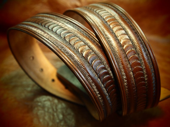 Brown Leather belt stamped and tooled Rich walnut finish made for YOU in New YorkC USA by Freddie Matara