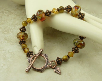 Fiery Fall Lampwork Bead Bracelet - Copper Topaz Autumn Mabon Harvest Brown Red Gold Leaves Swarovski Crystal - I ship Internationally