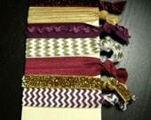Maroon and Gold Glitter Chevron Ruffle Hair Tie Set ... 7 ct.