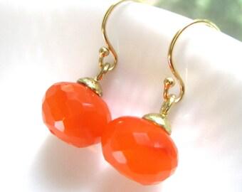 Pantone, 22kg Vermeil, Carnelian Tangerine Tango Faceted Earrings...