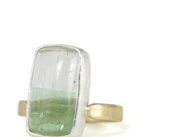 one of a kind // bicolor tourmaline + sterling silver and 18k gold ring