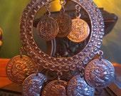 Vintage Gypsy Huge Silver Pendant of Coins Necklace