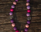 SIMPLE.beads Pink and Purple bubble gum bead necklace
