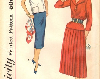 Simplicity 2388  Two Pieces - Top with Slim or Pleated Skirt VINTAGE ©1958