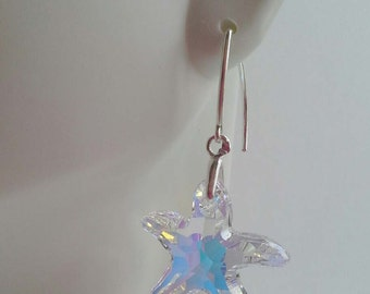 Handmade with Swarovski Starfish Elements Crystal AB  925 Sterling Earrings Only
