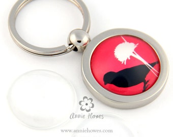 Photo Key Ring Keychain with Glass Insert. Create your own custom image key chain. 1 Inch Circle Center.