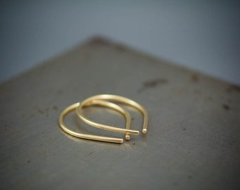 Small 14k Gold Filled Arc Earring - Simple Gold Hoop Earring Gift For Her