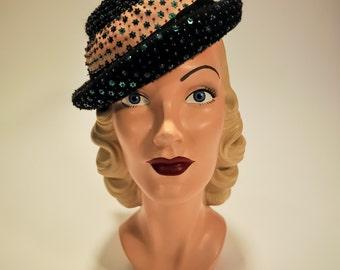 1940s Green Sequin Stars New York Creation Tilt Hat - Meier & Frank Portland
