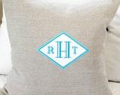 Wedding Diamonds Monogrammed Pillow Cover