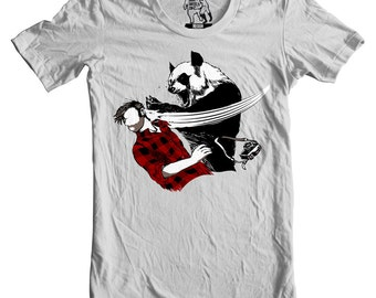 Panda tshirt, Panda tee, Panda t-shirt, American Apparel Silver S, XL