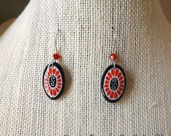 ECO Scarlet Oval  Pysanky Batik  Dangle Earrings