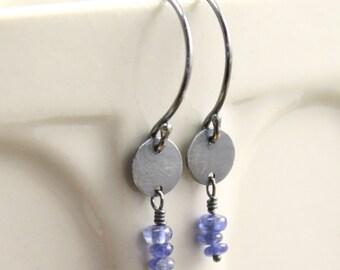 Sapphire Drop Earrings in Sterling Silver