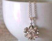 Swarovski Crystal Wedding Necklace, Flower Pendant Necklace, Glam Garden Wedding