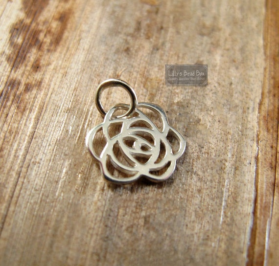 Tiny Silver Rose Charm, Shiny Sterling Silver Flower Charm, Simple Rose Pendant for Everyday Jewelry (CH 980)