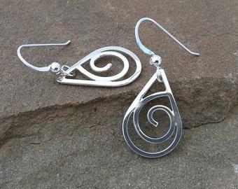Silver Curly Teardrop Earrings Metalwork Earrings Small Dangles Swirly Curly Q