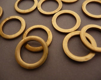 12 Raw Brass Rings Loops - Large Heavy