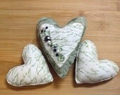 Primitive Green and White Mothers Day Heart Bowl Filler Ornament Set of Three