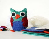 CRAFT KIT - Sew A Wise Stuffed Owl - hand-dyed wool felt, wool stuffing, cotton embroidery floss