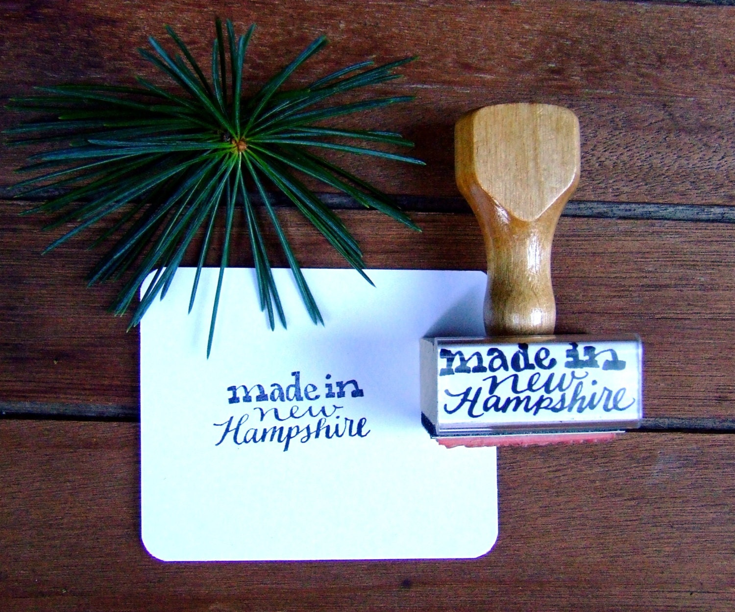 Made in new hampshire modern calligraphy stamp card