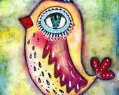 Art Print, Whimsical Canary Bird With Party Hat, Mixed Media Storybook Illustration, 6 x 9, 5 x 7.5, Yellow Red