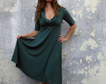Organic Gypsy Babydoll Below Knee Dress (light hemp/organic cotton knit) organic dress