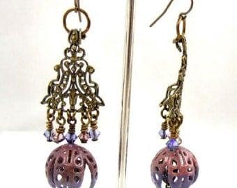 Bronze Filigree Chandelier Earrings Flower Floral Crystal Dangle Handmade