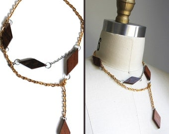Wood Diamond Silver & Gold Chain Sustainable Necklace
