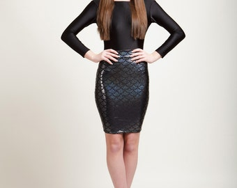 Baltic Black Mermaid Bodycon Pencil Skirt in Metallic Holographic Sparkles