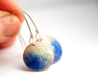 Blue and White Earrings, Enameled Copper Earrings, Geometric Earrings, Circle Earrings, Nautical Earrings, Autumn Jewelry, Dangle Earrings