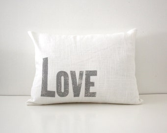 Silver and White Decorative Love Pillow - Letterpress Font Pillow - Nursery Decor - Gray and White Throw Pillow
