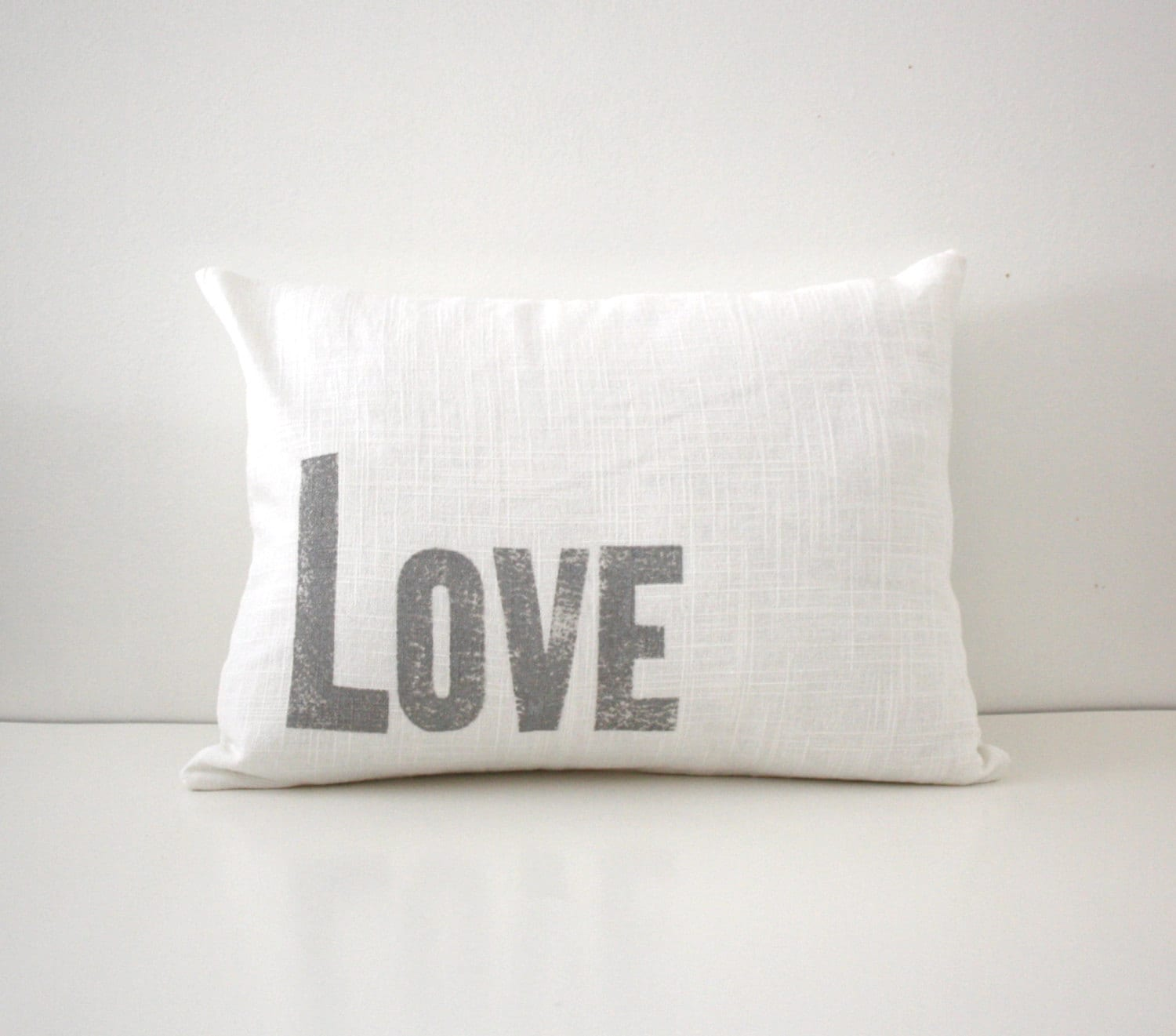 Decorative Love Pillow : Silver and White Decorative Love Pillow Letterpress Font
