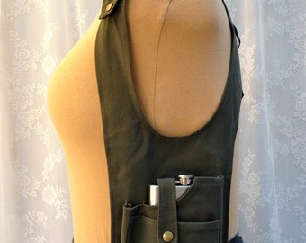 CLEARANCE SALE - 50% OFF - Military green pocket holster vest - steampunk pocket vest - steampunk flask holster - Small Wide