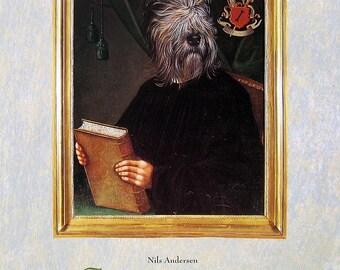Dog Portrait - Nils Andersen - 1993 Vintage Book Page - Whimsical Dog Art - 10.25 x 8.25