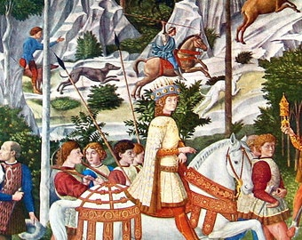 The Journey of the Magi, Detail, by Benozzo Gozzoli - Fine Art Print - Masterpiece Painting - Reproduction Print - 12 x 10