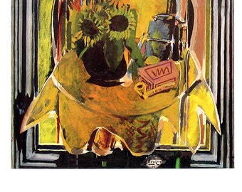 Classic Painting Print - Sunflowers - George Braque - 1985 Vintage Book Page - Reproduction Print