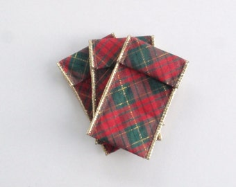 Jewelry Bead Pouches - 12 Christmas Plaid n Floral - Ribbon