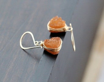 Druzy Gold Earrings , Orange Quartz Triangles Bezel Wrapped in Gold, Rose Gold, Silver, Geometric Dangles Autumn- Sienna