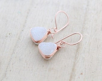 Druzy Gold Earrings, White Quartz Triangles Bezel Wrapped in Gold, Rose Gold, Silver, Geometric - Snow