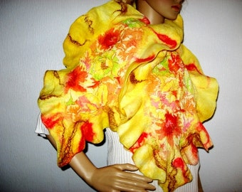 Leaf Nuno FELTED RUFFLED SCARF Fall Womens Neck warmer Yellow Orange  Colors Wool Felt Scarf