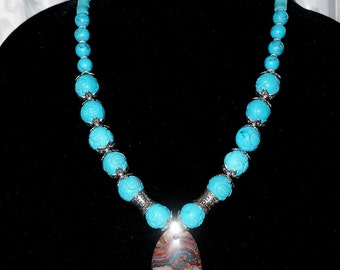 Turquoise Necklace, Jasper Pendant, Ladies 21 inch Handmade Necklace, Gift for her