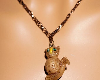 Handmade Owl Necklace Pendant, Polymer Clay Owl on 18 inch Copper Chain