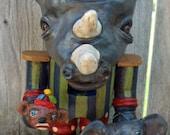 Carnival Circus Folk Art Rhino Rhinoceros Nutcracker Nut Cracker Sock Monkey Elephant Jols Vintage Style
