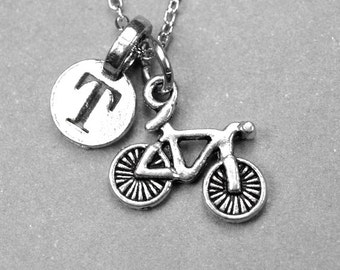 Bicycle Necklace, bike charm, antiqued silver pewter, initial necklace, initial hand stamped, personalized, monogram