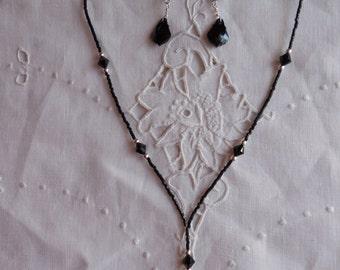 Baroque Swarovski Crystal Necklace in Jet Black