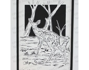 White-tailed Fawn Papercutting- Handcut Original