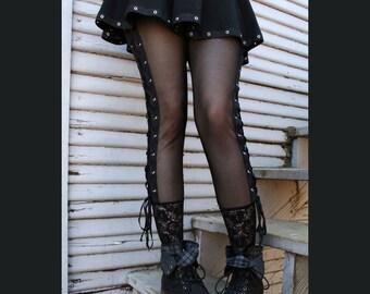 Mesh Lace-Up Leggings XS S M L XL 2XL plus size punk goth stretch high-waist corset pants metal grommet eyelet Black Lace Trim