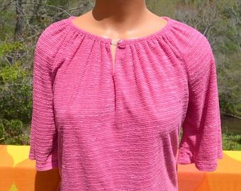 vintage 70s shirt DISCO women tunic peasant top keyhole boatneck pink Medium caribou