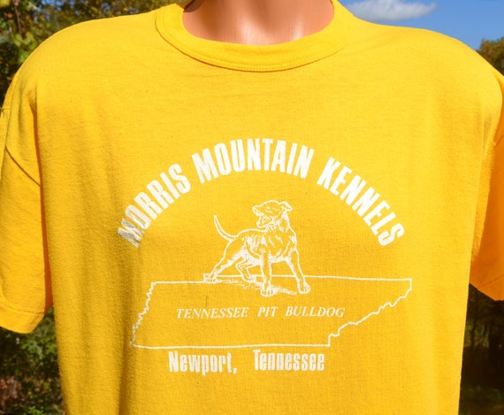 80s t-shirt vintage PIT BULL dog morris mountain kennels tennessee tee shirt Large pitbull newport